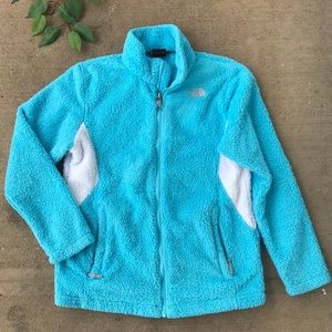 Girl's North Face Blue Fuzzy Zip Up Jacket